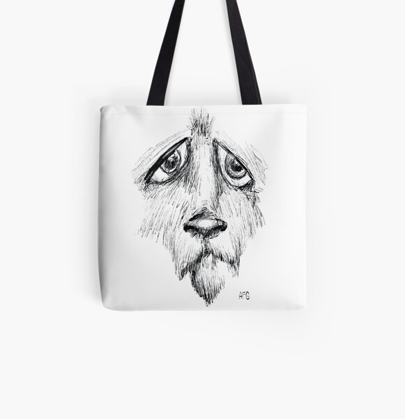 Sad Eyes Puppy All Over Print Tote Bag