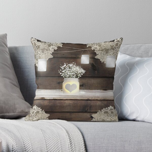 Rustic Wood & Lace Mason Jar Baby's Breath Flowers Throw Pillow