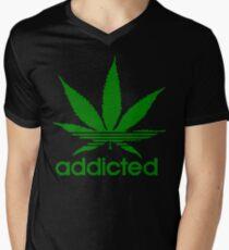 Addicted - Cannabis T-shirt col V homme
