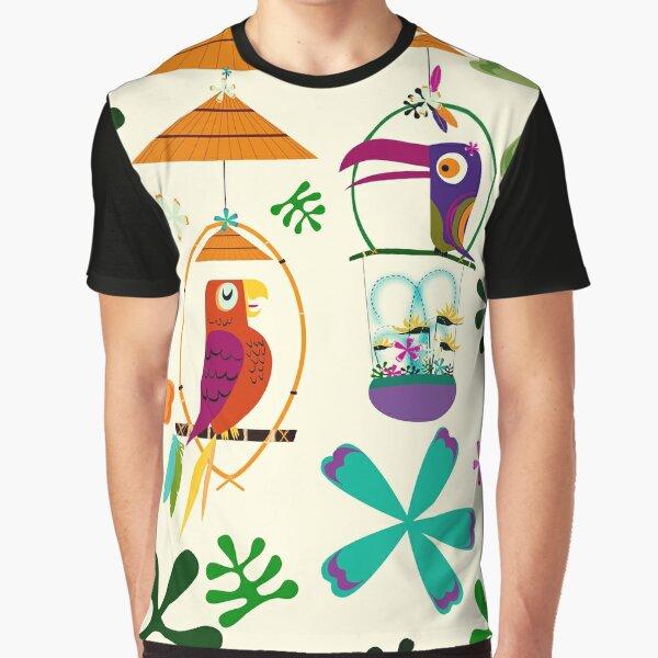 Vintage Modern Tiki Birds Graphic T-Shirt