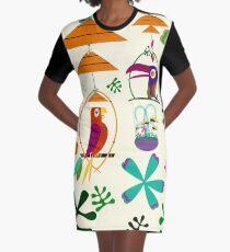 Vintage Modern Tiki Birds Graphic T-Shirt Dress
