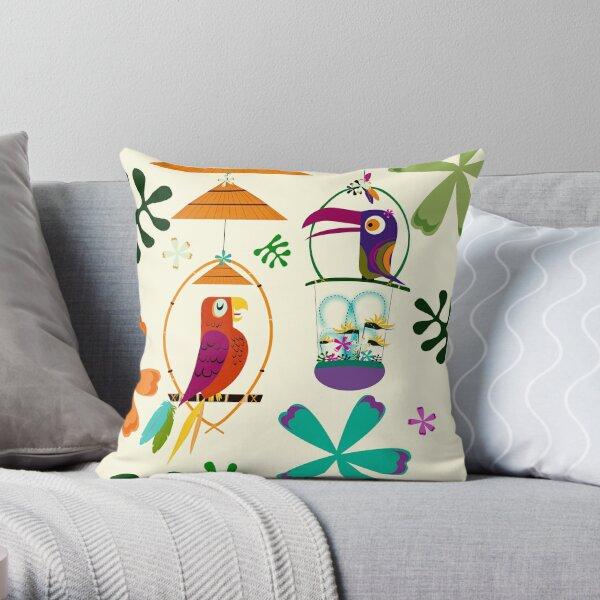 Vintage Modern Tiki Birds Throw Pillow