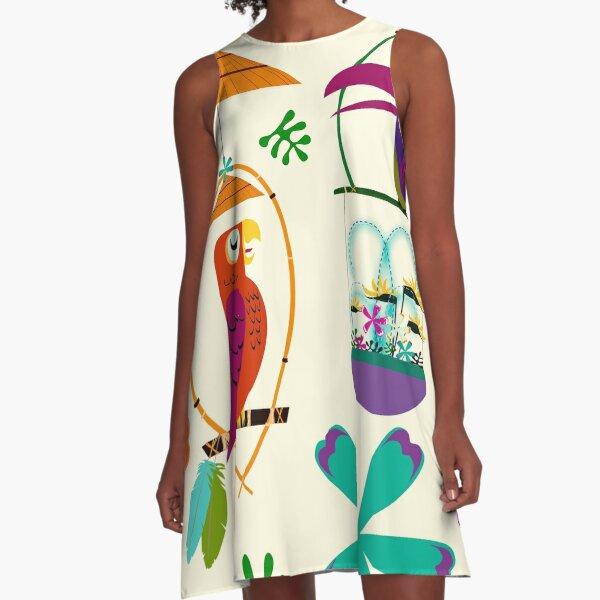 Vintage Modern Tiki Birds A-Line Dress