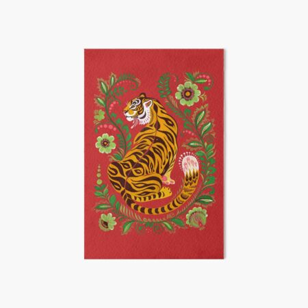 Tiger Folk Art Art Board Print