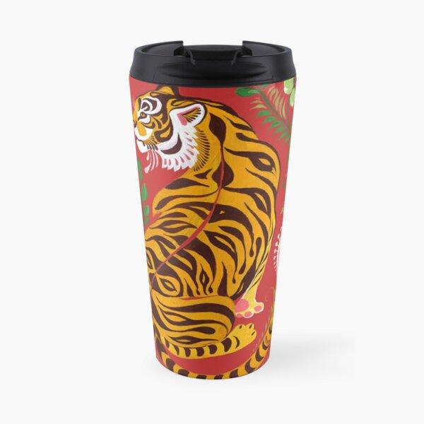 Tiger Folk Art Travel Mug