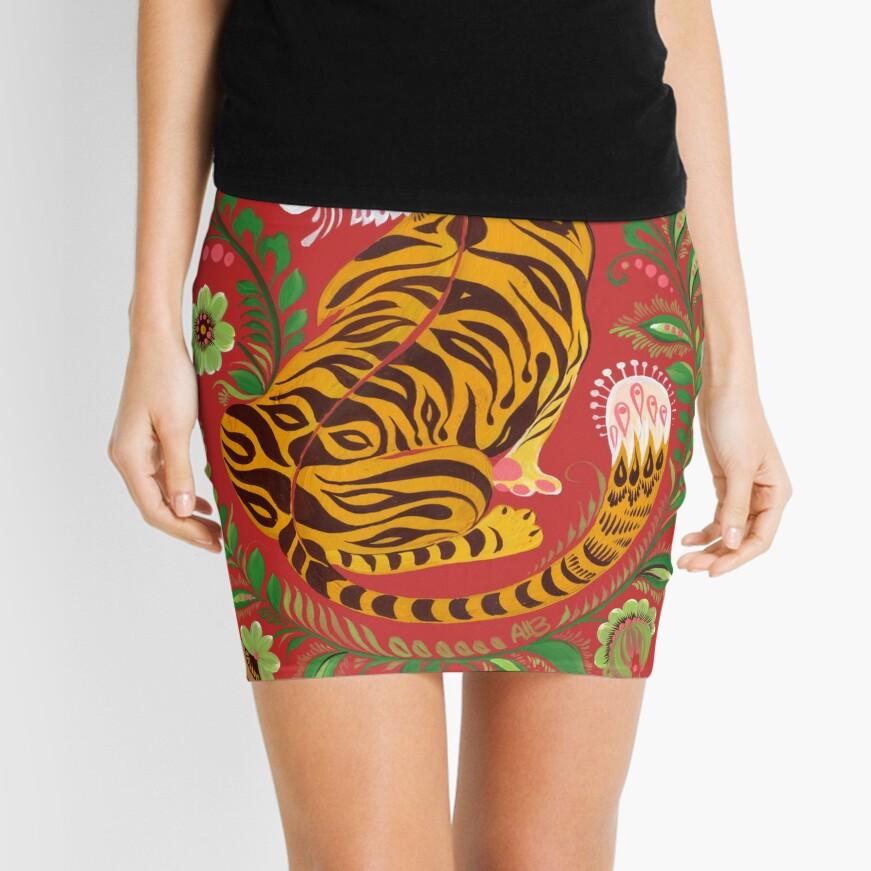Tiger Folk Art Mini Skirt