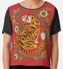 Tiger Folk Art Chiffon Top