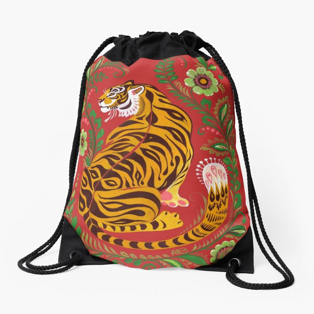 Tiger Folk Art Drawstring Bag