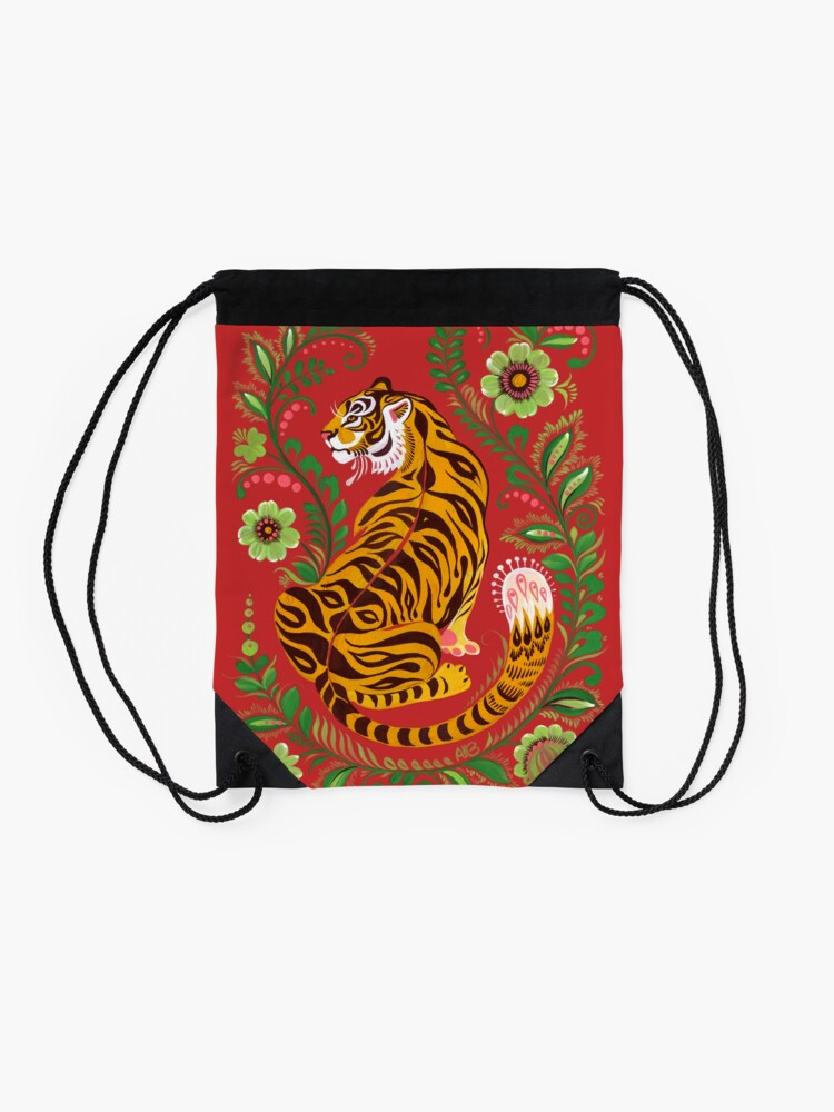 Alternate view of Tiger Folk Art Drawstring Bag