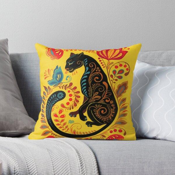 Panther & Butterfly Folk Art Throw Pillow