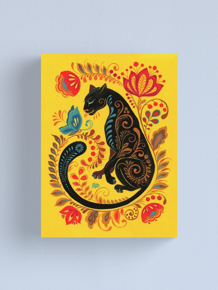 Alternate view of Panther & Butterfly Folk Art Canvas Print