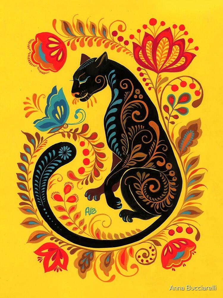 Panther & Butterfly Folk Art by annabucciarelli