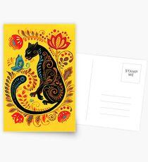 Panther & Schmetterling Volkskunst Postkarten