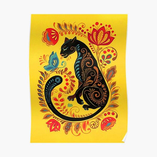Panther & Butterfly Folk Art Poster