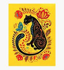 Panther & Schmetterling Volkskunst Fotodruck