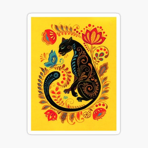 Panther & Butterfly Folk Art Sticker