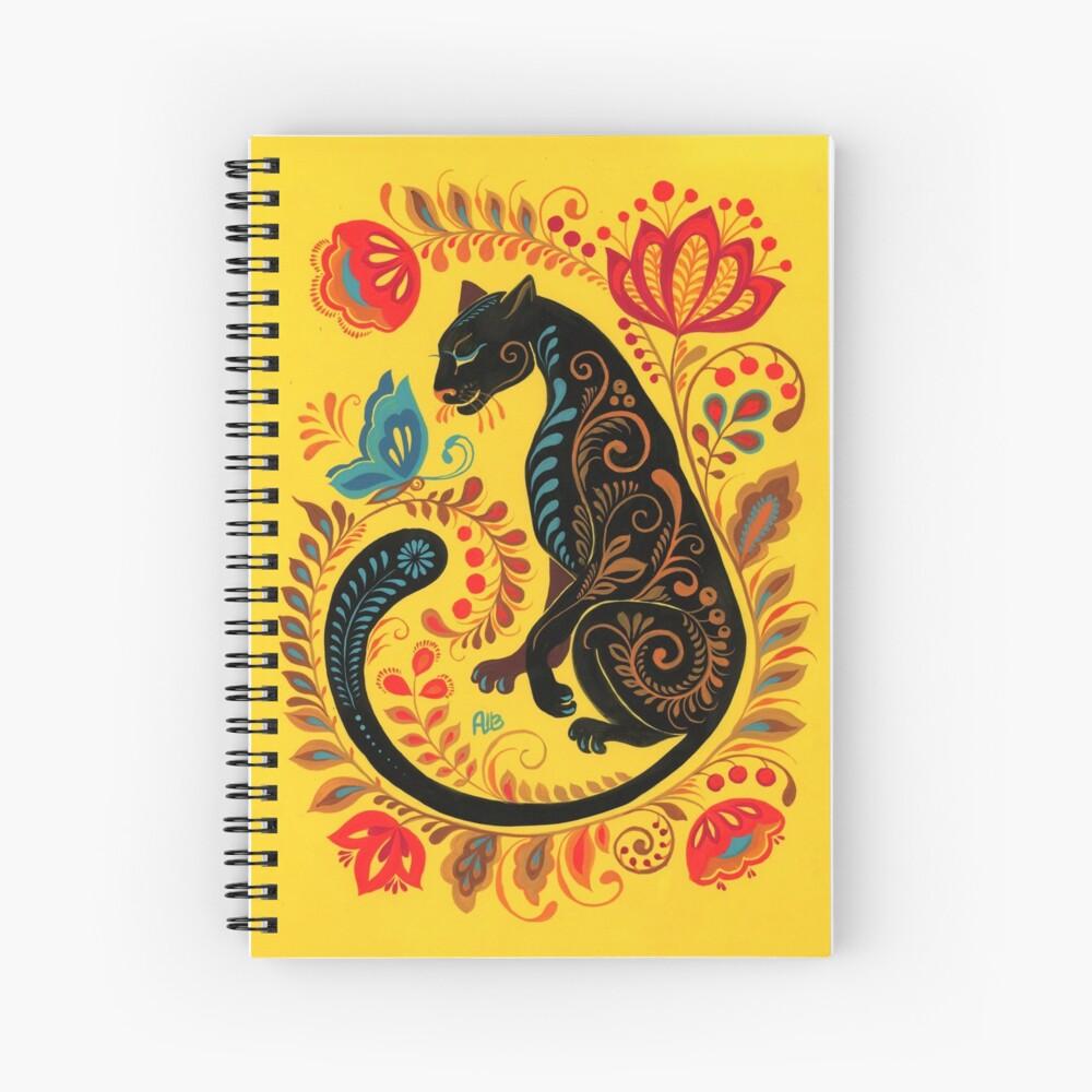 Panther & Butterfly Folk Art Spiral Notebook
