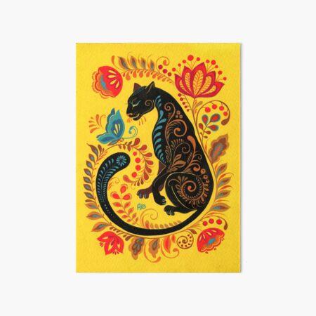 Panther & Butterfly Folk Art Art Board Print