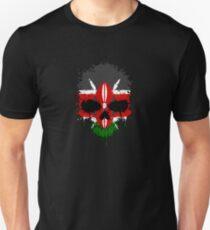 Chaotic Kenyan Flag Splatter Skull Unisex T-Shirt