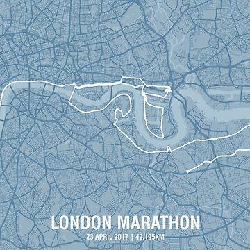 London Marathon Map - Steel Blue by MishiInk