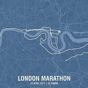 London Marathon Map - Mid Blue by MishiInk