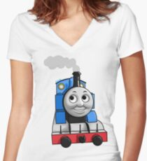 Thomas puffing along Women's Fitted V-Neck T-Shirt