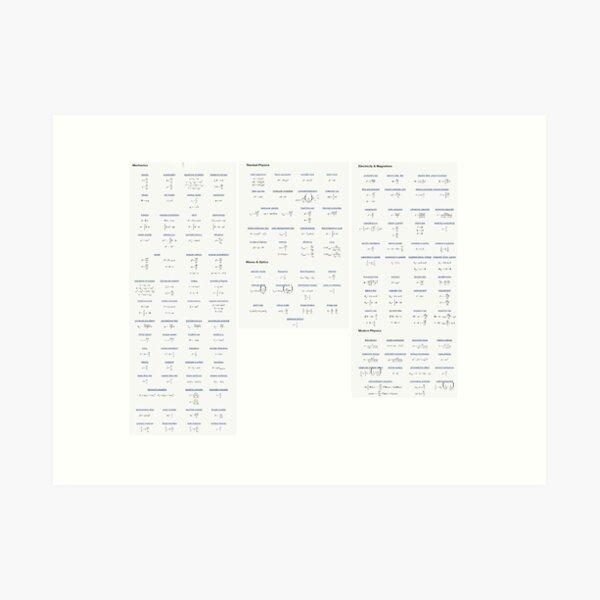Physics, #Physics, formula chart, formula set, #formula, #chart, #set, formulachart, formulaset, φυσική, nature, natural science, matter, motion, behavior, space, time, studies, energy, force Art Print