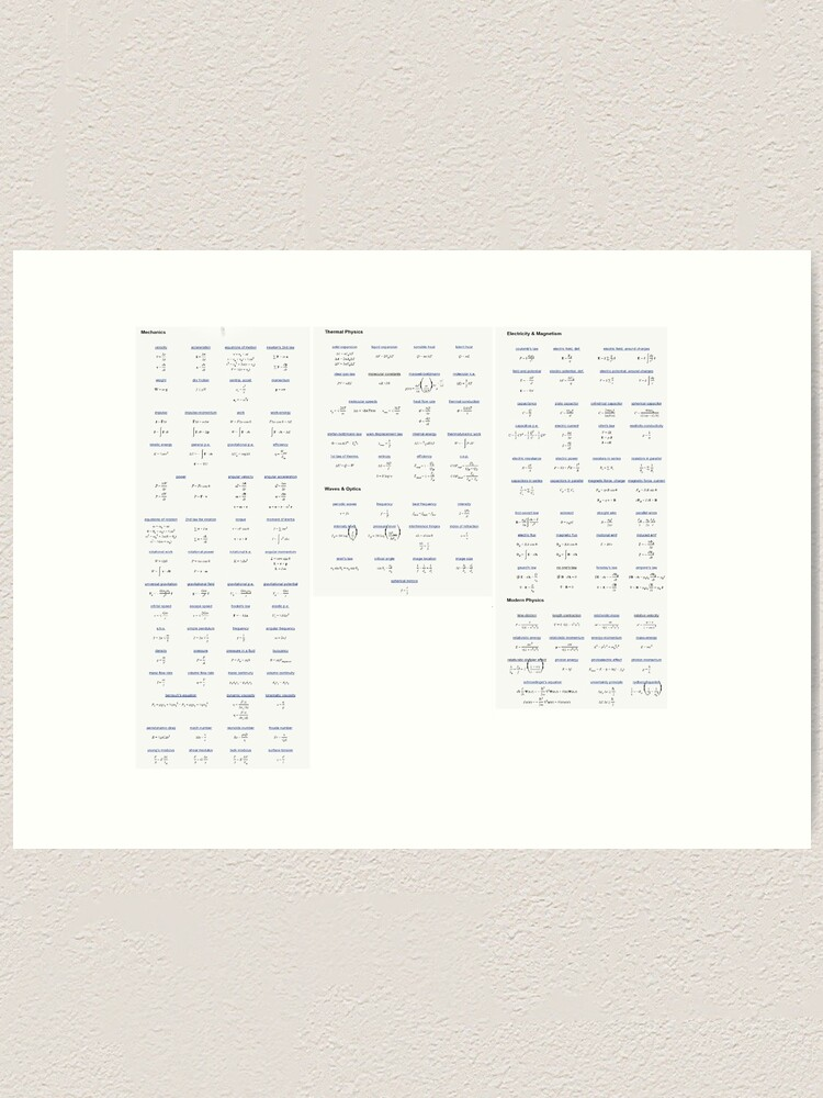 Alternate view of Physics, #Physics, formula chart, formula set, #formula, #chart, #set, formulachart, formulaset, φυσική, nature, natural science, matter, motion, behavior, space, time, studies, energy, force Art Print