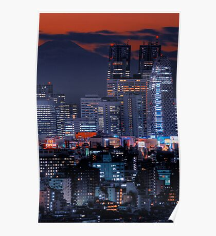Twilight in Tokyo & Mount Fuji decided to put in an appearance Poster