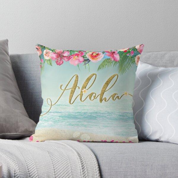 Golden Aloha Throw Pillow