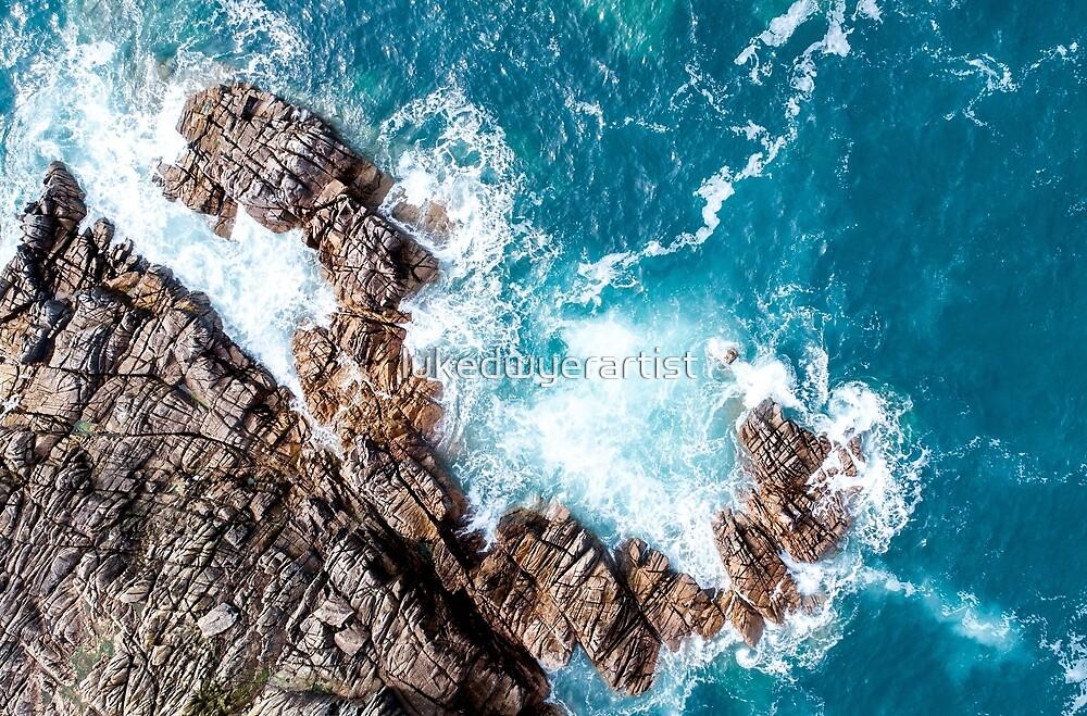 Aerial Ocean Surf Waves Crashing on Rocks Beach Sea Coastal by lukedwyerartist
