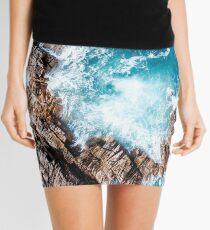 Aerial Ocean Surf Waves Crashing on Rocks Beach Sea Coastal Mini Skirt