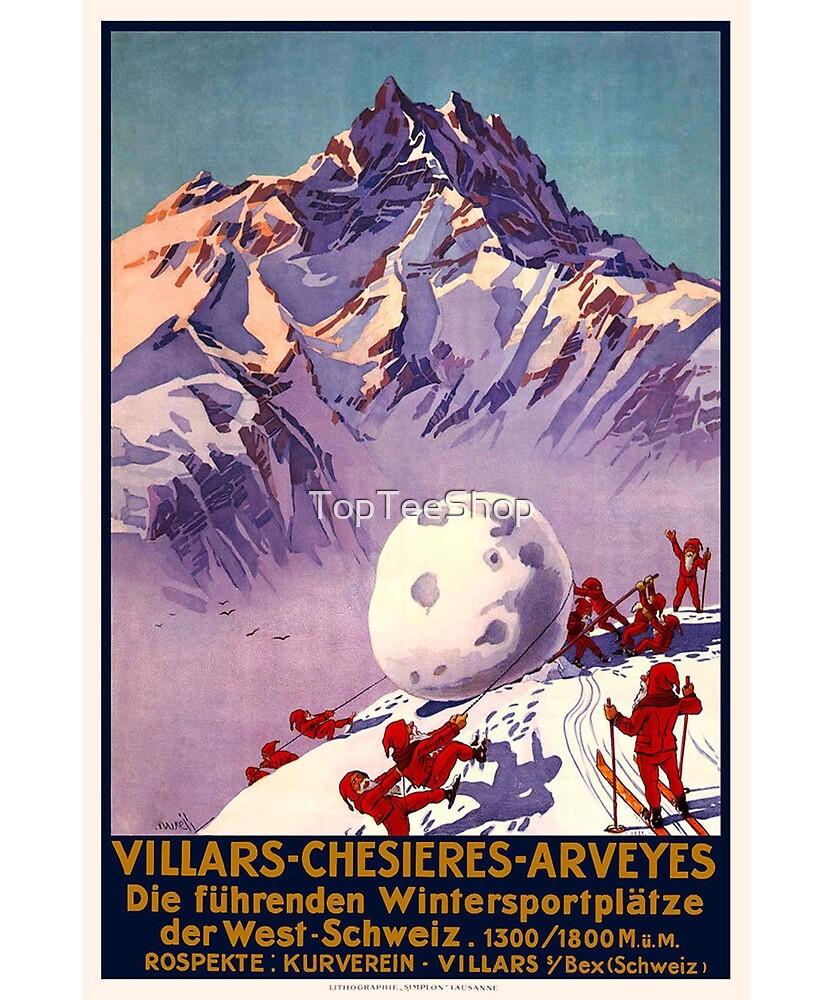 Vintage Switzerland T-Shirt Christmas Ski Santa Elves Poster by TopTeeShop
