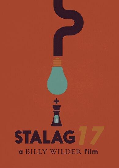 Stalag 17, Billy Wilder minimal movie poster, war film, classic hollywood masterpiece, german wwII, nazi, cinema by Spallutos