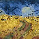 Original Vincent Willem van Gogh Impressionist Art Painting Restored Black Birds Field by jnniepce