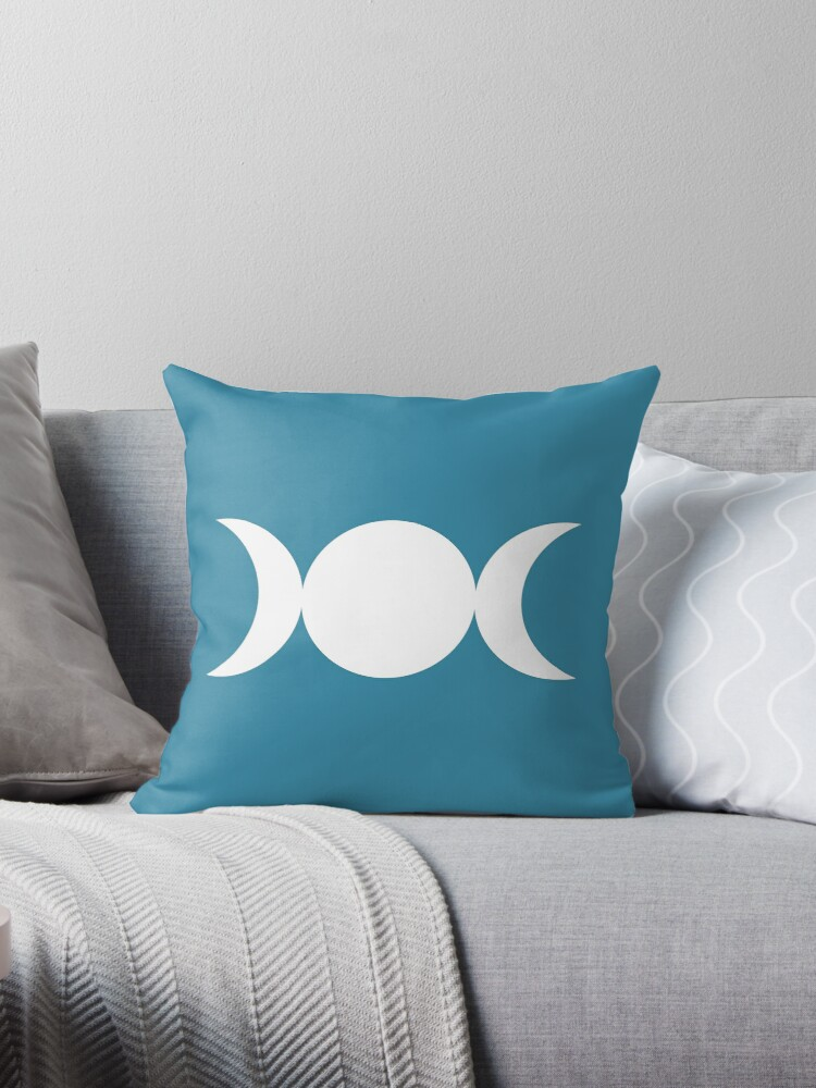 Triple Goddess Symbol - White on Blue Moon by MagicalCreative