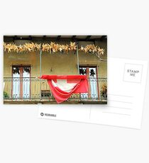 Balcony With Corn Cobs And Swiss Flag Postcards
