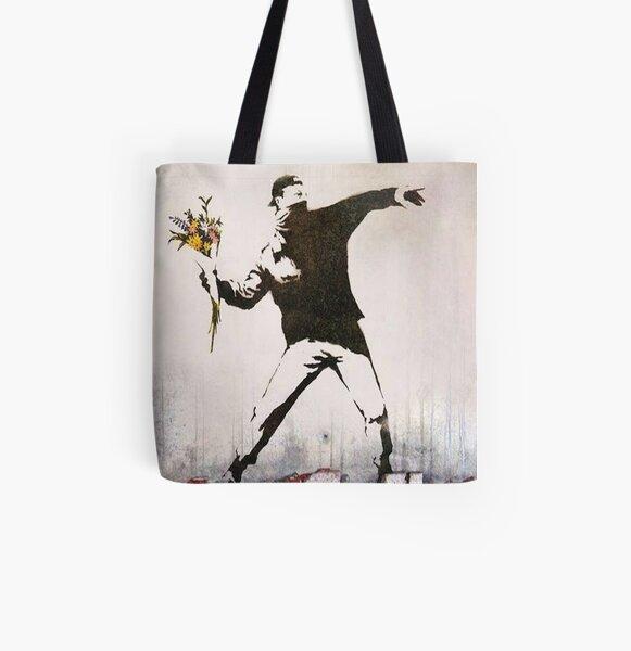 Rage, Lanceur de fleurs, Banksy Tote bag doublé