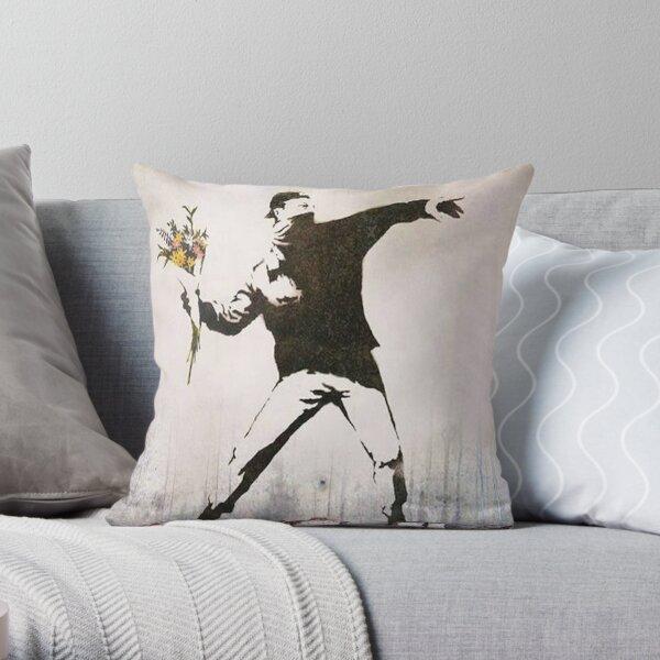 Rage, Lanceur de fleurs, Banksy Coussin