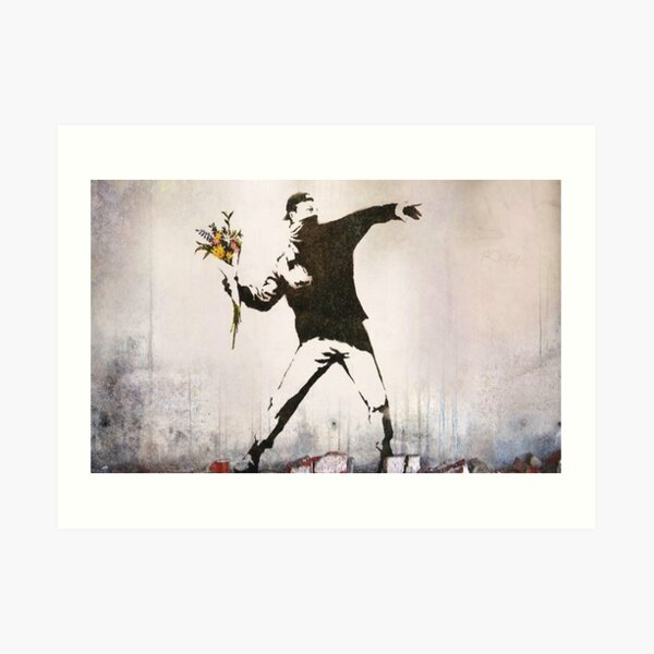 Rage, Flower Thrower, Banksy  Art Print