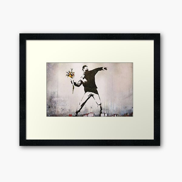 Wut, Blumenwerfer, Banksy Gerahmter Kunstdruck
