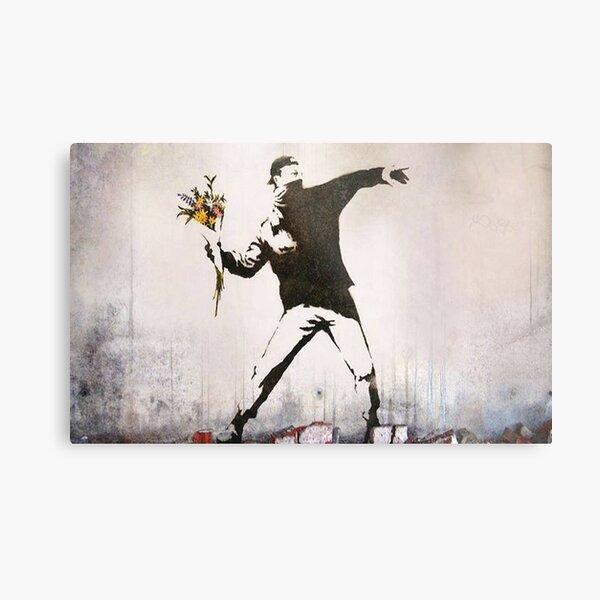 Rage, Lanceur de fleurs, Banksy Impression métallique