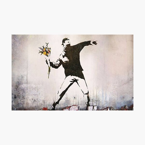 Rage, Flower Thrower, Banksy  Photographic Print
