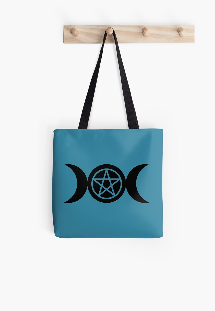 Goddess and Pentacle Symbols - Black on Blue Moon by MagicalCreative