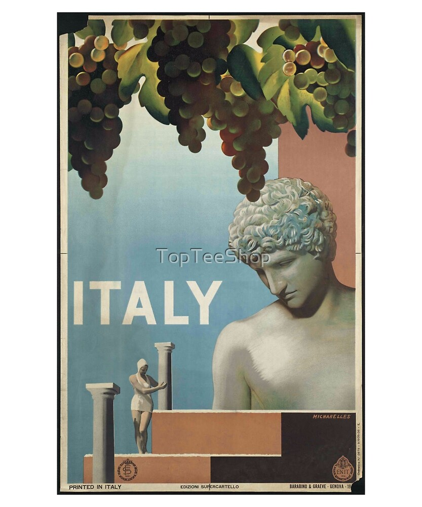 Vintage Italy T-Shirt Statue Retro Travel View Poster by TopTeeShop