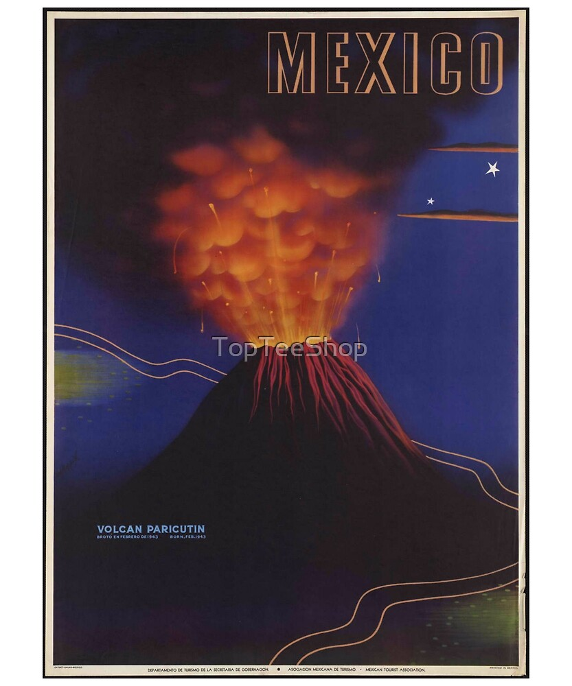 Vintage Mexico T-Shirt Mexican Ad Volcano Travel Poster by TopTeeShop