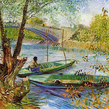 Original Vincent Willem van Gogh Impressionist Art Painting Restored Fishing inSpring by jnniepce