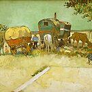 Original Vincent Willem van Gogh Impressionist Art Painting Restored Encampment of Gypsies with Caravans by jnniepce