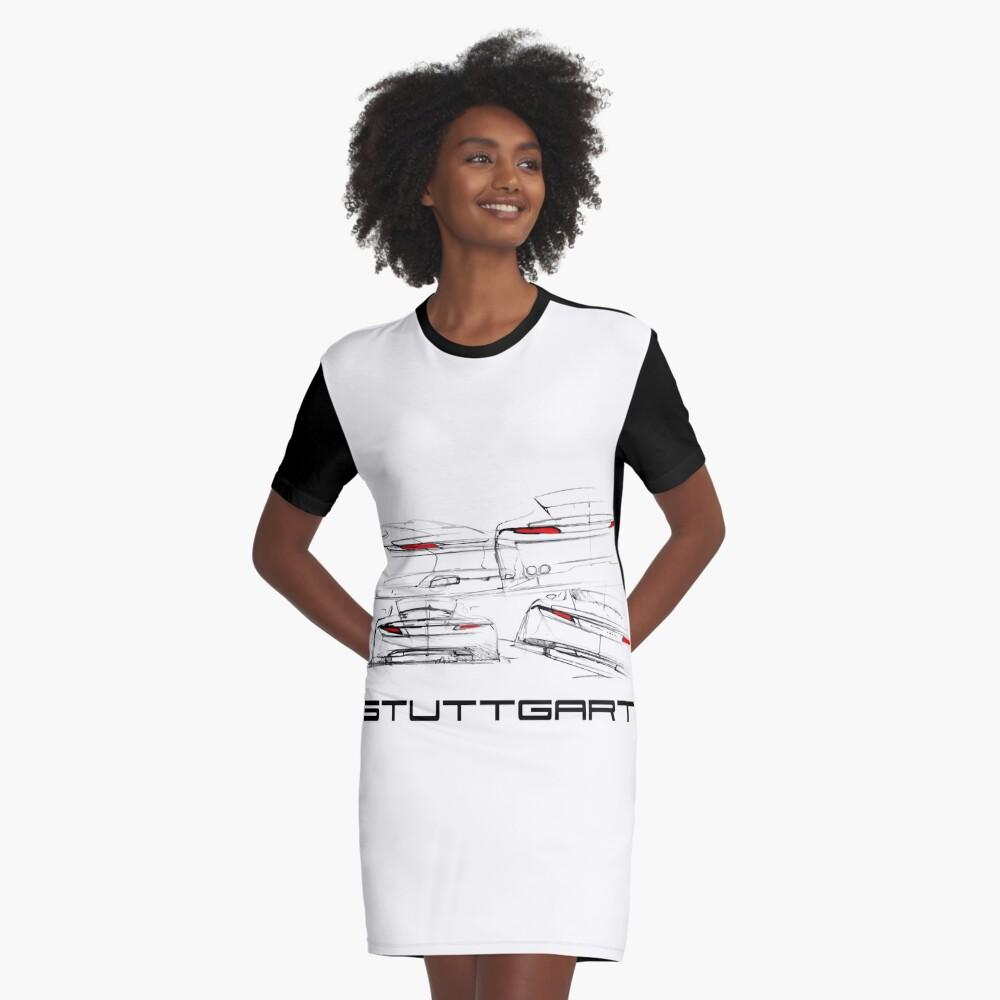Stuttgart Design Sketch Graphic T-Shirt Dress Front