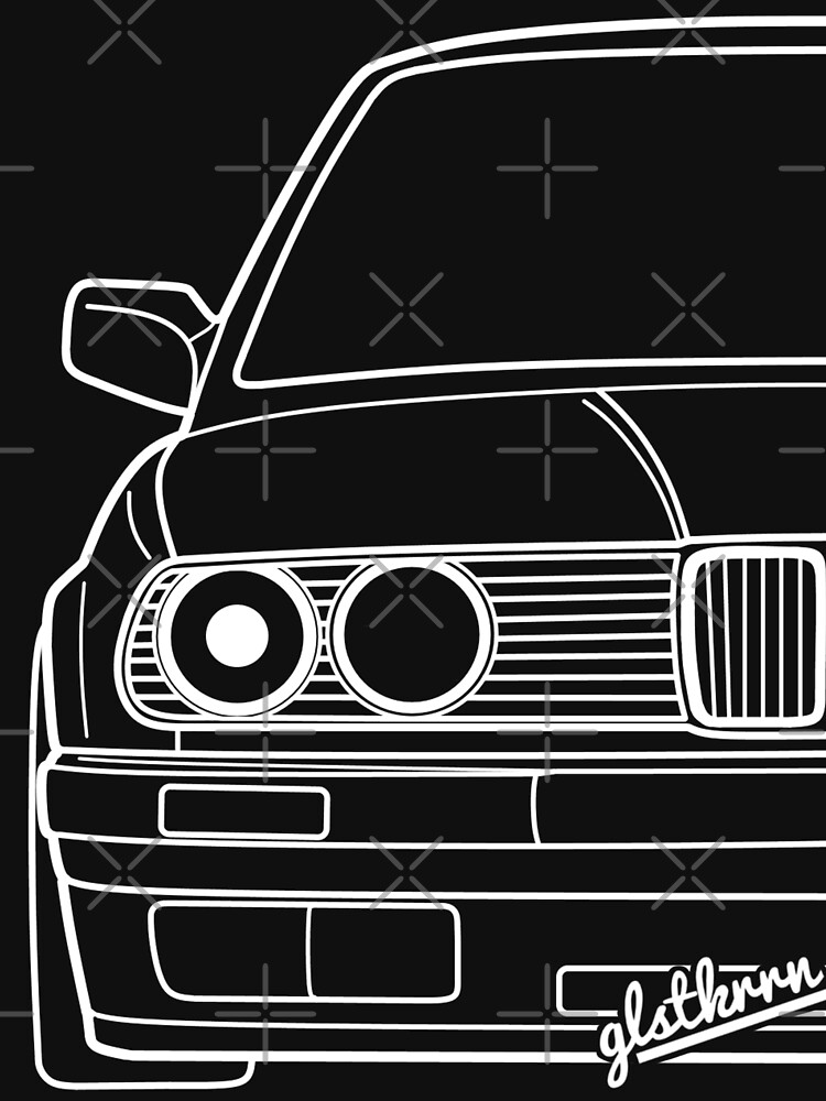 E30 3er Shirt silhouette contour drawing by glstkrrn